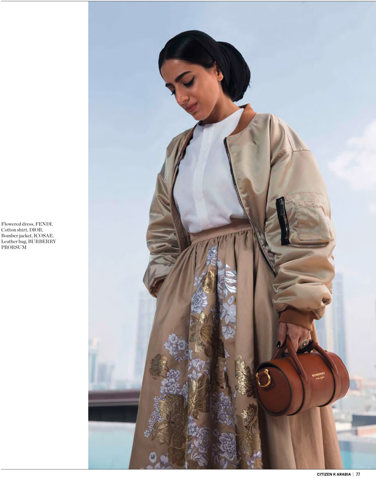 Producer Aya Al Bitar styled by Arthur Mayadoux with Icosae bombers, Dior shirt, Fendi shirt, Burberry bag for Citizen K Arabia