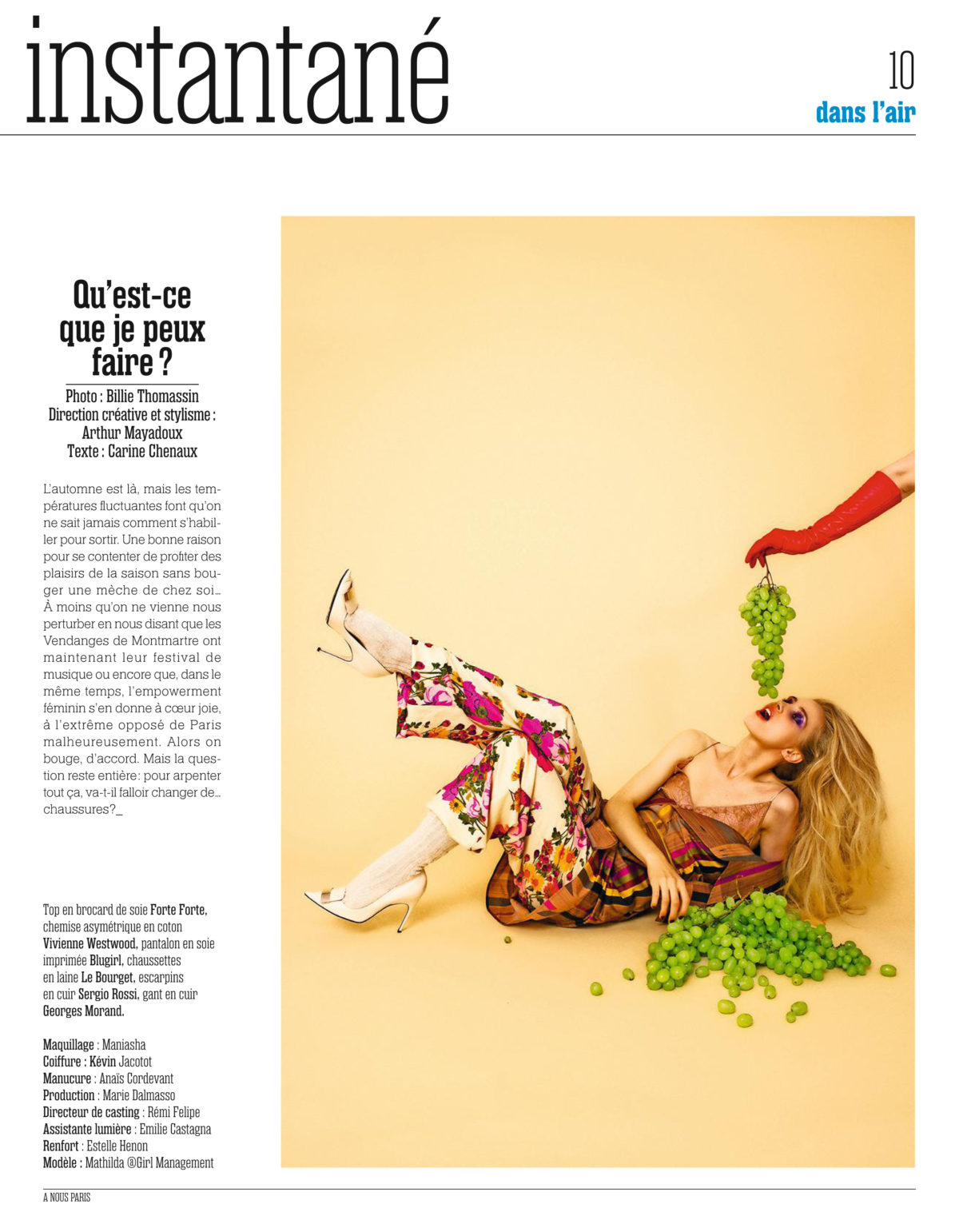A Nous Paris #827 - Photo Billie Thomassin Style & AD Arthur Mayadoux