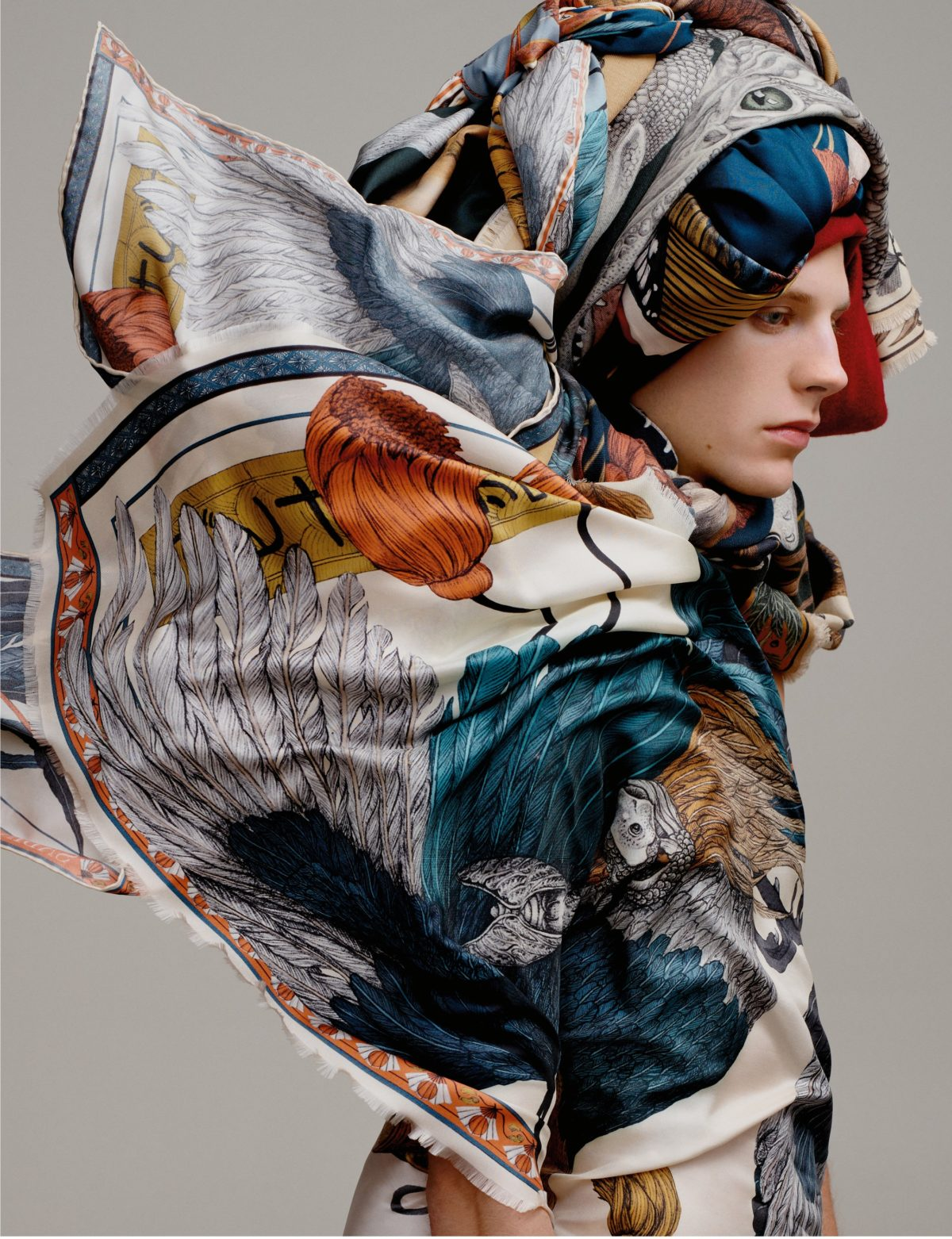 Scarfs styled by Arthur Mayadoux with Sabina Savage shot by Armin Morbach